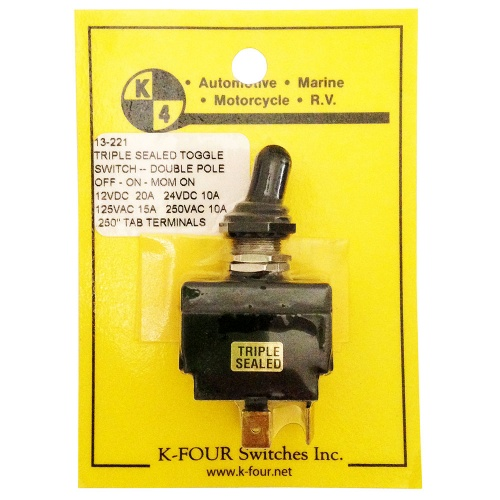 K-Four 20A Triple Sealed Toggle Switch Off-On-Mom